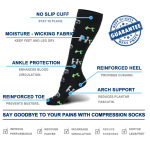 Four Seasons Long-barreled Compression Socks For Men Women Letters Outdoor Riding Running Quick Dry Breathable Sports Socks  Trainer Socks - Black EU 39-46