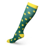 Dots Hose Riding Compression Sock Off-road Cycling Marathon Running Breathable Outdoor Sports Socks Boots Comression Scoks - Green Background Yellow Dots S / M