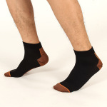 Men Compression Socks Male Casual Sports Socks Spring Autumn Winter Spell Color Breathable Non Ship Socks for Travel - Foot Black Box One Size
