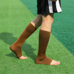 Toeless Compression Socks Spring Autumn Winter Men Sports Socks Solid Color Long-barreled Breathable Absorbent Football Socks - Color One Size