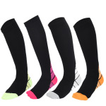 Leggings Stockings Men Women Running Sports Socks Absorb Sweat Socks Football Decompression Knee High Socks - Blue XL