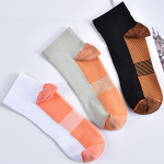 Autumn Winter Fashion Trend Men Socks Sports Spell Color Cotton Socks Men Ankle Compression Socks for Swelling - White One Size