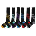 Male Female Calf Sports Socks Autumn Winter Fashion Striped Socks Boots Compression Socks for Travel - Yellow Stripe XL