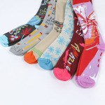 Autumn Winter Retro Letters Spell Color Compression Socks Men Calf Sleeve Sports Socks - Black One Size