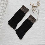 Ms. Five Fingers Socks Cotton Socks In Tube Socks Autumn And Winter Stockings Mouth Retro Gold Toe Socks Sen Department - Brown One Size