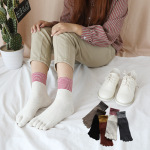 Ms. Five Fingers Socks Cotton Socks In Tube Socks Autumn And Winter Stockings Mouth Retro Gold Toe Socks Sen Department - Khaki One Size