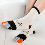 Ms Toe Socks Warm Winter Socks Cotton Socks Toe Socks Color Refers Cartoon Socks - Purple One Size