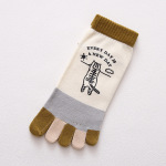 Toe Socks Female Summer Thin Section Cotton Socks Short Tube Socks Cartoon Korean Breathable Toe Socks - Bulldog Coffee One Size