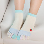 Ms Cotton Warm Winter Socks Toe Socks Color Refers To The Solid Embroidery Socks Toe Socks - Purple One Size