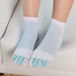 Ms Cotton Warm Winter Socks Toe Socks Color Refers To The Solid Embroidery Socks Toe Socks - Blue One Size