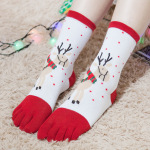 Dongkuan Christmas Stocking Toe Socks In Tube Socks Cartoon Holiday Gifts Couple Socks Toe Socks For Men And Women - Bear One Size