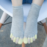 Cotton Toe Socks Female Spring And Autumn Thin Section Refers To Color Embroidered Socks Casual Socks Toe Socks - Cats Complexion One Size
