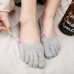 Toe Socks Female Summer Cotton Socks Two Bars Stealth Boat Socks Striped Toe Socks Toe Short - Striped Gray Powder One Size