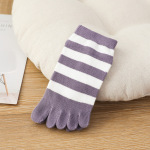 Duantong Toe Socks Female Spring And Summer Thin Cotton Absorbent, Breathable College Wind Striped Toe Socks - Green One Size