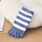 Duantong Toe Socks Female Spring And Summer Thin Cotton Absorbent, Breathable College Wind Striped Toe Socks - Blue One Size