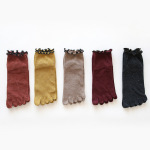 Ms Toe Socks Winter Pure Cotton Socks Toe Socks Metallic Roll Piles Of Socks Promoted Korean Lace - Yellow One Size