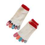 Ms. Korean Version Of A Short Tube Socks Cartoon Character Color Dispensing Sub-toe Socks Five Fingers Socks Student - Red One Size
