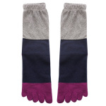 Toe Socks Female Thick Cotton Dongkuan Tall Fashion Hit Color Stitching Sweat Warm Toe Socks - White One Size