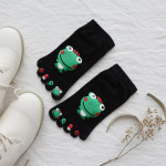 Ultra Low-cost All-cotton Socks Toe Socks Japanese Female Cotton Spring And Autumn Big Boy Cartoon Frog Toe Socks - White One Size