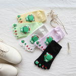 Ultra Low-cost All-cotton Socks Toe Socks Japanese Female Cotton Spring And Autumn Big Boy Cartoon Frog Toe Socks - Pink One Size