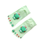Ultra Low-cost All-cotton Socks Toe Socks Japanese Female Cotton Spring And Autumn Big Boy Cartoon Frog Toe Socks - Green One Size