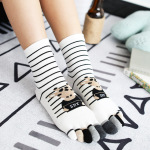 Ms Winter Socks Stripe Cartoon Toe Socks Toe Socks Support Processing Quality Cotton - White One Size