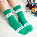 Ms Toe Socks Cotton Wool Socks In Winter Two Cylindrical Bars Thickened Toe Socks Movement Socks - Blue One Size