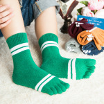 Ms Toe Socks Cotton Wool Socks In Winter Two Cylindrical Bars Thickened Toe Socks Movement Socks - Red Wine One Size