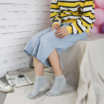 Toe Socks Female Spring And Summer Thin Section Cotton Candy Color Socks Duantong Toe Socks Nine-color Solid Color - Pink One Size