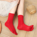 Female Toe Socks In Tubular Dongkuan Thick Absorbent Cotton Warm Socks Toe Socks Solid Deodorant - Green One Size