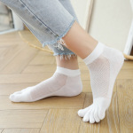 Toe Socks Female Cotton Summer Thin Section Short Tubular Solid Absorbent, Breathable Mesh Deodorant Toe Socks - White One Size