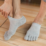Toe Socks Male Cotton Socks Spring And Summer Thin Section Stealth Boat Socks Absorb Sweat Breathable Mesh Toe Socks - Black One Size