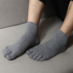 Male Cotton Toe Socks Socks Winter Snow Retro M Socks Absorbent Sock Toe Socks - Light Grey One Size