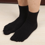 Toe Socks Cotton Four Seasons Male Models In The Tube Socks Duantong Straight Solid Business Men Toe Socks - A White Bar In Tube One Size
