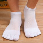 Male Cotton Toe Socks Summer Thin Section Invisible Socks Short Tube Socks Mesh Breathable Absorbent Sock Toe Socks M - Black And Gray One Size