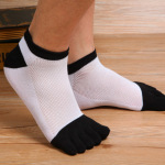 Male Cotton Toe Socks Summer Thin Section Invisible Socks Short Tube Socks Mesh Breathable Absorbent Sock Toe Socks M - Black And White One Size