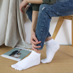 Toe Socks Male Cotton Thin Section Short Tube Socks Solid Color Summer Sports Absorbent, Breathable Toe Socks - White One Size