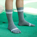 Toe Socks Male Autumn And Winter Thick Cotton Socks Gaotong Two Bars Toe Socks Sports Socks Student - Green One Size
