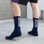 M Toe Socks Dongkuan Thick Cotton Striped Letters Tall Absorbent Warm Toe Socks Couple Socks - Blue One Size
