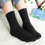 Ms. Winter Wool Socks Toe Socks In Tube Socks Solid Color Thick Warm Socks Leisure Absorb Sweat Toe Socks - Pink One Size