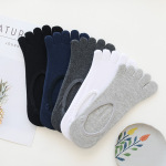 Toe Socks Thin Section M Cotton Socks Invisible Motion Sock Solid Absorbent, Breathable Sock Toe Socks - Blue One Size
