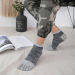 Men's Toe Socks Cotton Socks Spring And Thin Short Tube Section Breathable Retro Striped Toe Socks - Blue One Size