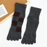 Male Cotton Toe Socks Dongkuan Thick Warm Side Of The Absorbent Tube Giga Toe Socks Houmian - Orange Checks One Size