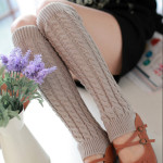 Korean Autumn Winter Knit Booties Character Linen Pattern Socks Wool Boots Socks - White One Size