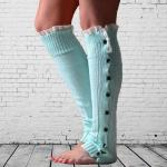 Autumn Winter Female Flat Buttons Lace Leggings Warm Socks Boot Covers Sets - Light Gray One Size