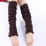 Mixed Batch Miss Han Ban Fashion Knitted Wool Flounced Sleeve Warm Leggings Knee Socks - Light Gray One Size