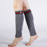 Japan South Korea Autumn Winter Warm Cashmere Knit Wool Socks Female Bee Embroidery Boots Leg Sets - Navy One Size