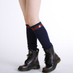Japan South Korea Autumn Winter Warm Cashmere Knit Wool Socks Female Bee Embroidery Boots Leg Sets - White One Size