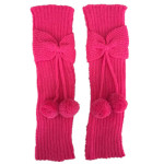 Small Children Autumn Winter Female Bow Ball Knitted Wool Socks Boot Covers Leggings Set - White One Size