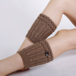 Autumn Winter Wool Knit Booties Boots Leggings Wheat Dashed Short Paragraph Warm Socks Buttons - Coffee One Size